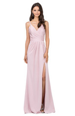 Blush, v-neckline, long dress, perfect as a graduation dress.