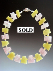Pink and Yellow Quartz Geometric Collar ONE OF A KIND