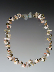 """This dimensional collar features either pink or green biwa pearls spaced with sliced natural seashells.  One strand is dandy, two is even better. Last of the lot.  18"""" Clasp will vary."""