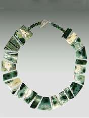 A medley of colors play off each other in this geometrically cut ocean jasper collar that fits perfectly around your neck.  Only 1 - 18""