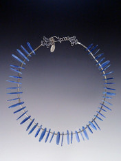 Toss on this vibrant blue Kyanite stick necklace that goes with everything - adjusts from 18-20""