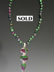 Ruby Zoisite Triple Pendant Necklace - ONE OF A KIND
