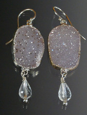 Druzy Crystal Dangle Sterling Earrings  ONE OF A KIND
