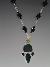 Black Spinel Garnet Peridot Silver Pendant Necklace- ONE OF A KIND