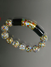 Klimt 24K Black Onyx Stretch Bracelet