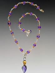 Amethyst Citrine Silver Chain with Charoite Citrine Pendant
