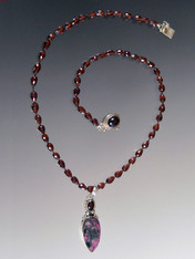 Faceted Garnet with Garnet Russian Eudialyte Silver Pendant ONE OF A KIND