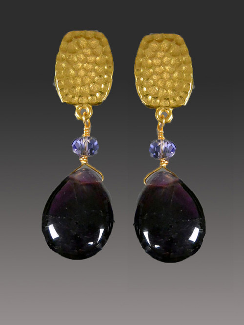 """If you like a """"dangle"""" look but can't find clip earrings, you'll love these limited edition Bess Heitner earrings featuring rich purple wine amethyst teardrops and Swarovski tanzanite rondels with a hammered super high quality 24K plated clip top with comfort tabs and a ridiculously affordable price."""