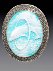 SALE - Vintage Etched Dolphin Embellised Brass Frame Pin/Pendant