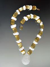 White Opal Butterscotch Lucite Brazilian Druzy Pendant Necklace