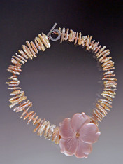 Pink Biwa Pearl Swarovski Crystal Flower Necklace