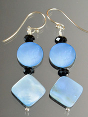Blue Navy Mother of Pearl Geometric Dangle Sterling Earrings