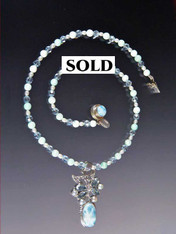 Larimar Blue Topaz Sterling Pendant Necklace ONE OF A KIND