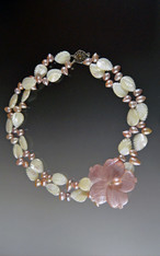 Mother of Pearl Carved Leaf Pearl Blossom Collar
