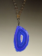 Brilliant Purple Blue Agate Stalactite Pendant