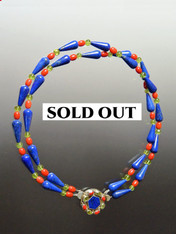 Lapis Coral Peridot Nesting Collar - ONE OF A KIND