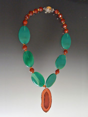 Green Agate, Carnelian,  Agate Pendant Necklace