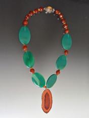 Green Agate, Carnelian, Freeform Agate Pendant Necklace