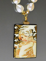 Handpainted Russian Jewelry- Winter by Mucha