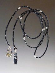 Black Spinel Sterling Lariat with Pyrite Black Tourmaline and Pyrite Swan Dangles - ONE OF A KIND