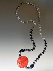Vintage Natural Carved Cinnebar Onyx Snow Obsidian Chain Rope - ONE OF A KIND
