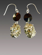Peruvian Golden Pyrite Rare Swarovski Faceted Dicc Sterling Dangle Earrings