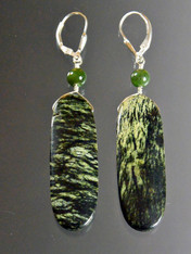 Green Jasper Jade Long Sterling Dangle Earrings ONE OF A KIND
