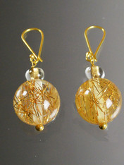 Art Deco Lucite/Bakelite Rutilated Quartz Earrings