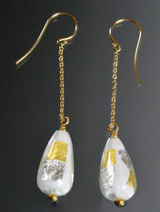 Venetian Vincenzo White Teardrop Gold/Sterling Splash Dangle 18K Earrings