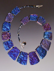 Raw Geometric Cobalt Blue Jasper  Crystal Plated Collar