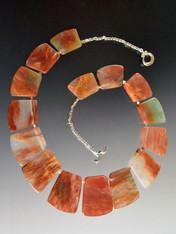 Geometric Crystal PaleJasper Sterling Silver Collar