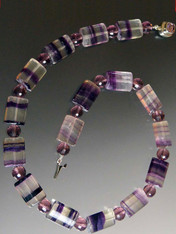 Rare Purple Striped Fluorite Amethyst Spaced Collar- ONE OF A KIND