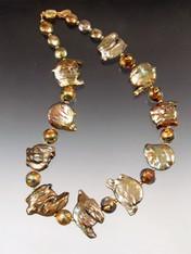 Huge Opulent Grade AAA Golden Baroque Pearl 24K Venetian Collar - ONE OF A KIND