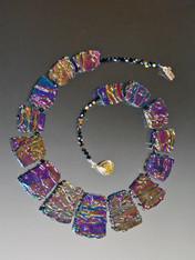 Multi-Toned Purple Blue Jasper Liquid Crystal Geometric Collar