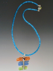 Removable Raw Blue, Green, Orange Kyanite  Garnet Sterling Wrapped Pendant on Micro Faceted Neon Apatite Chain - ONE OF AKIND
