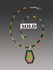 Rare South African Unakite Onyx Pendant on a GreenJade Sterling Coral Chain - ONE OF A KIND