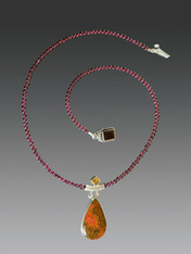 Rare Cady Mountain Agate Citrine Pendant on Garnet Chain - ONE OF A KIND