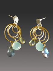 Triple Hoop Precious Gemstone Gold Stering Dangle Earrings - ONE OF A KIND