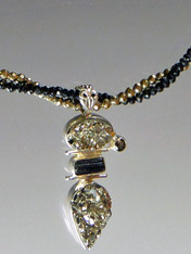 Peruvian Gold Pyrite Black Tourmaline Pendant on Black Spinel Gold Pyrite Chain-ONE OF A KIND