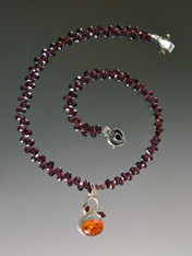 Baltic Amber Garnet Sterling Swan Pendant Faceted Rhodolite Garnet Chain - ONE OF A KIND