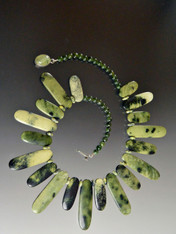 Rare Multi-Toned Green Jasper Bib - ONLY TWO