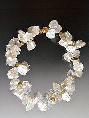 Huge Grade AAA Creamy White Petal pearls with 22K Hexagon Stations - ONE OF A KIND