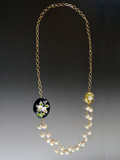 Pearls with Venetian Glass Porcelain Flowers and 24K Ultraplate Rope (black/gold)