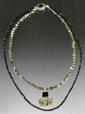Peruvian Gold Pyrite Black Tourmaline Pendant with Double Pyrite Black Spinel Chain-ONE OF A KIND