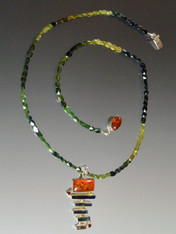 Multi-Strip Tourmaline Amber Pendant on Green Tourmaline Chain-ONE OF A KIND
