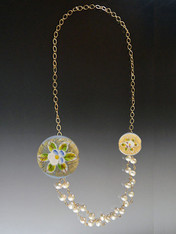 Pearls with Gold Chain and Venetian Porcelain Flower Rope (Green/Gold-
