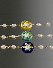 Round Venetian Hand-Painted Porcelain Adjustabe Pearl Bracelet