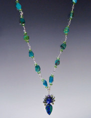 Chrysocolla Lapis Peridot Pendant Wire Wrapped Necklace - ONE OF A KIND