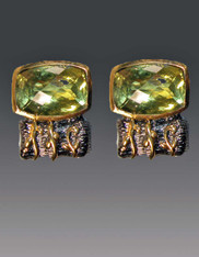 SALE- -Amy Kahn Russell Lemon Citrine Sterling Brass Clip/Post Earrings