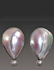 SALE- -Amy Kahn Russell Mabe and Freshwater Pearl Sterling Clip/Post Earrings